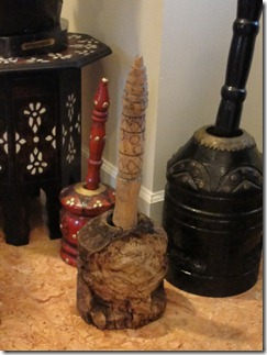 Olivewood pot from Nazareth: (with some newer ones) for grinding grain, very much like the one Mary Magdelene would have used